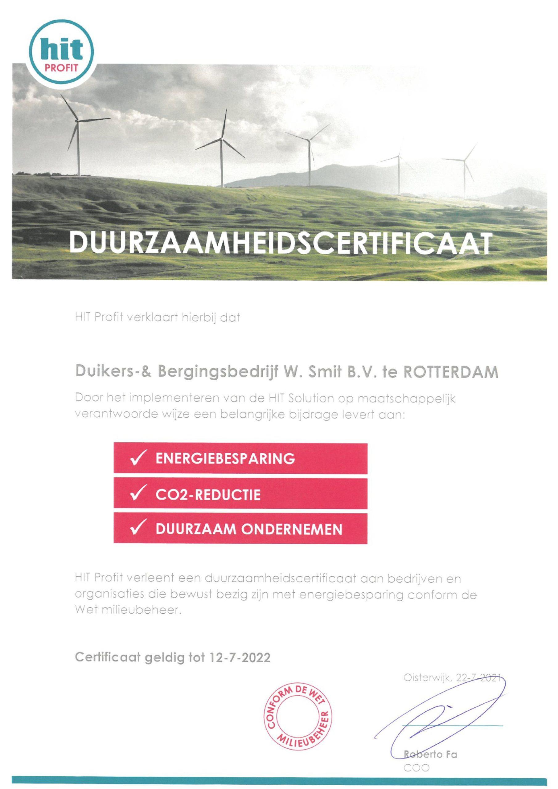 Duurzaamheidscertificaat